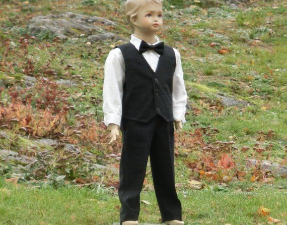 5fad85ae4 Boys black linen outfit, ring bearer suit in linen Toddler boy wedding  party outfit Boys classic suit, special occasion