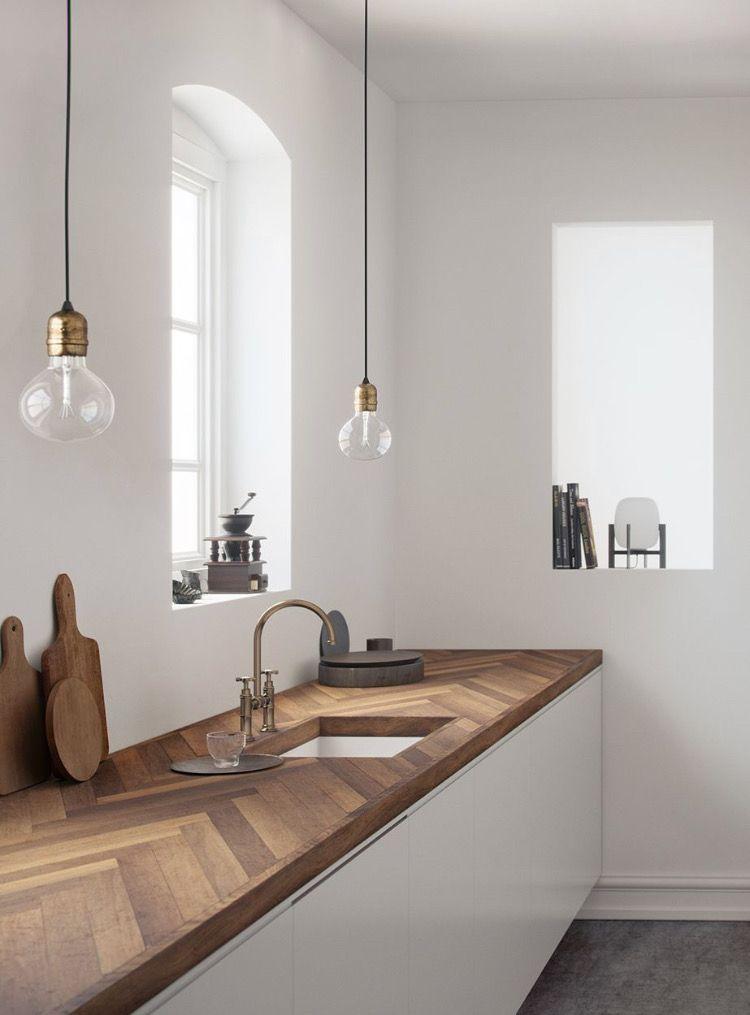 Cuisine minimaliste plan de travail chêne massif #cuisine #kitchen - plan de travail de cuisine
