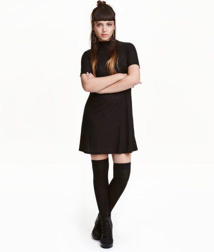 Jerseykjole med lav rullekrave | Sort | Dame | H&M DK