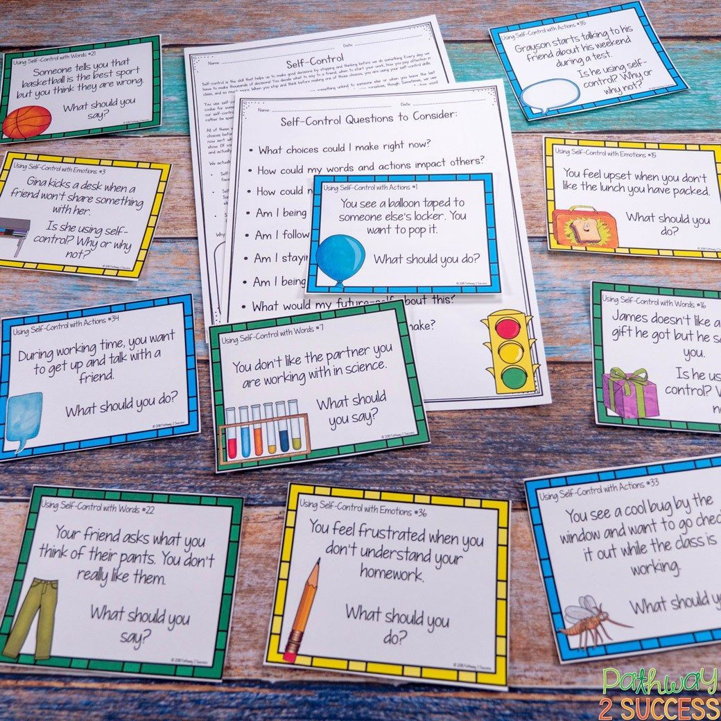 Self Control Task Cards Emotionalcontrol In