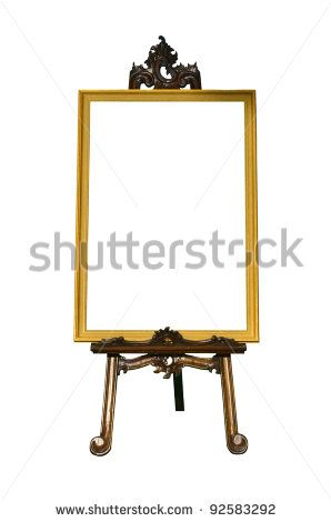 Vintage gold picture frame with wooden easel isolated on white ...
