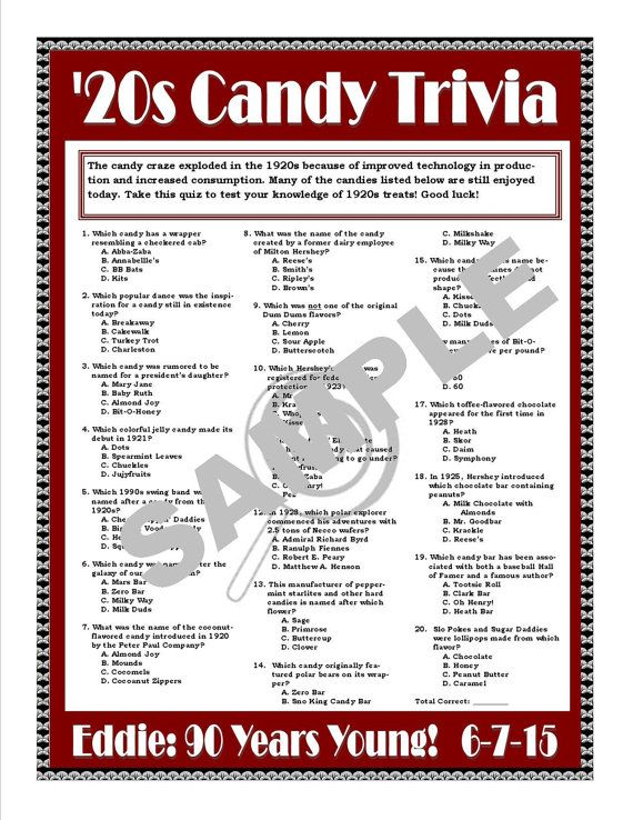 1920s Candy Trivia Printable Game--Personalize for Birthdays