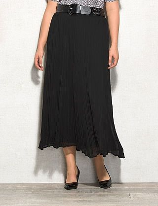roz & ALI™ Plus Size Belted Crinkled Maxi Skirt