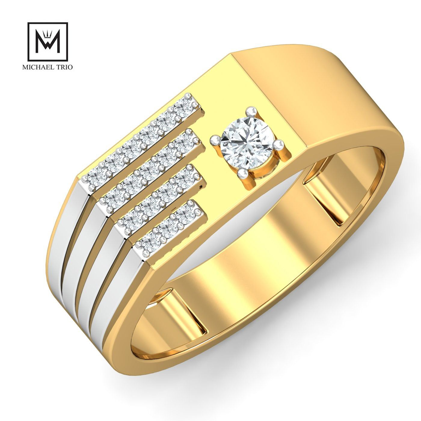 Shop Latest Designer Engagement And Wedding Rings For Mens Online From Michael Trio Which Offers Classic Mo Mens Gold Rings Mens Ring Designs Men Diamond Ring