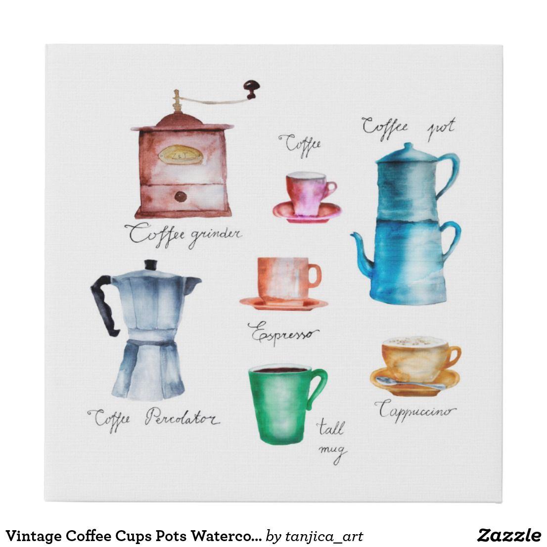 Vintage Coffee Cups Pots Watercolor Illustration Faux Canvas Print