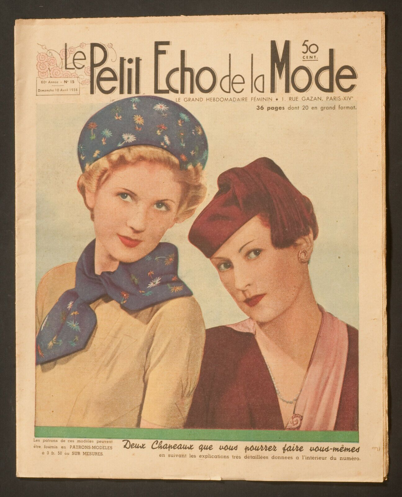 'ECHO DE LA MODE' FRENCH VINTAGE NEWSPAPER 10 APRIL 1938 | eBay