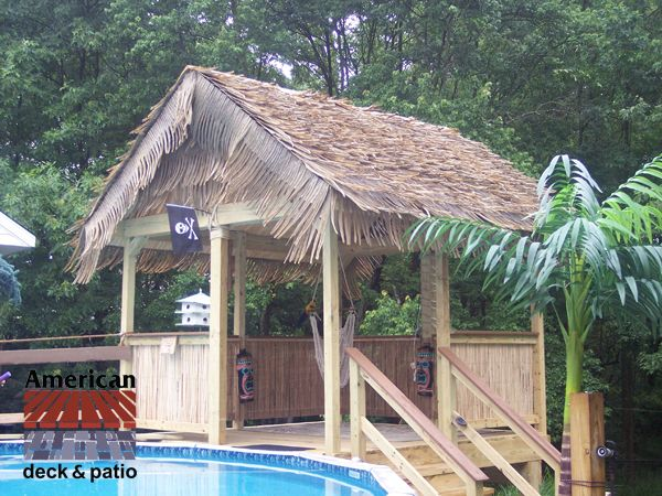 Harford County MD Tiki Hut Pool House Synthetic thatch prongs are the roof shingles