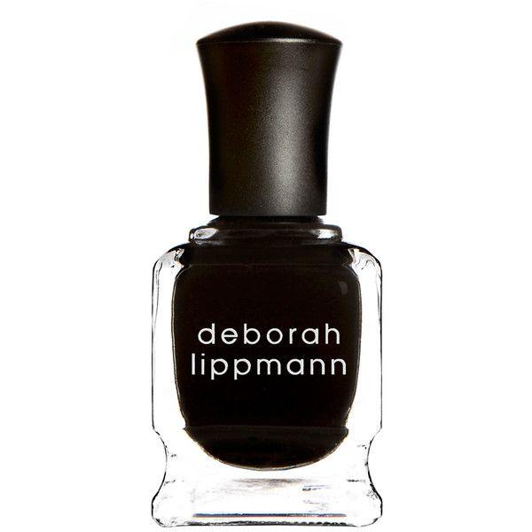 Deborah Lippmann Nail Polish in Fade To Black (28 CAD) ❤ liked on Polyvore featuring beauty products, nail care, nail polish, makeup, nails, cosmetics, filler, shiny nail polish, deborah lippmann nail lacquer and deborah lippmann