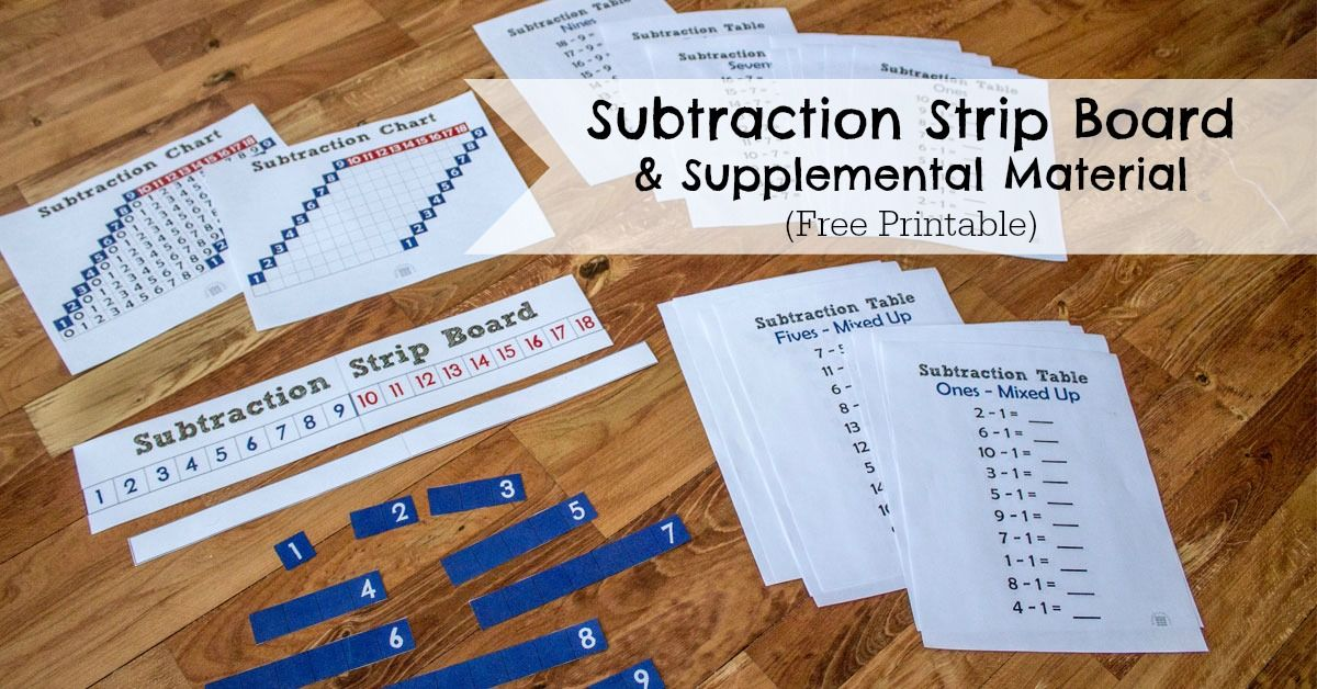 Free, Printable, Subtraction Strip Board Montessori, Montessori - subtraction table