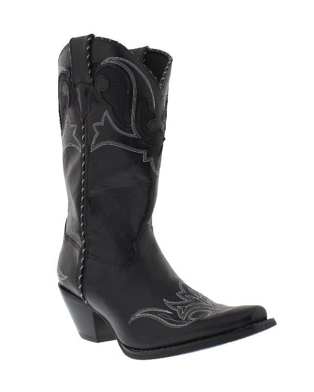 """Durango 11"""" Black Crush With Inlay Narrow Snip Toe Boot   The Black Crush is a gorgeous boot by Durango that comes with lace piping, white stitching and sections of faux crocodile in its design. All these features together give you get a chic-looking cowboy boot. The upper is made from synthetic leather, offering fantastic durability and easy maintenance and cleaning. The interior has a soft, comfortable and breathable lightweight lining. These boots also feature a cushion insole"""