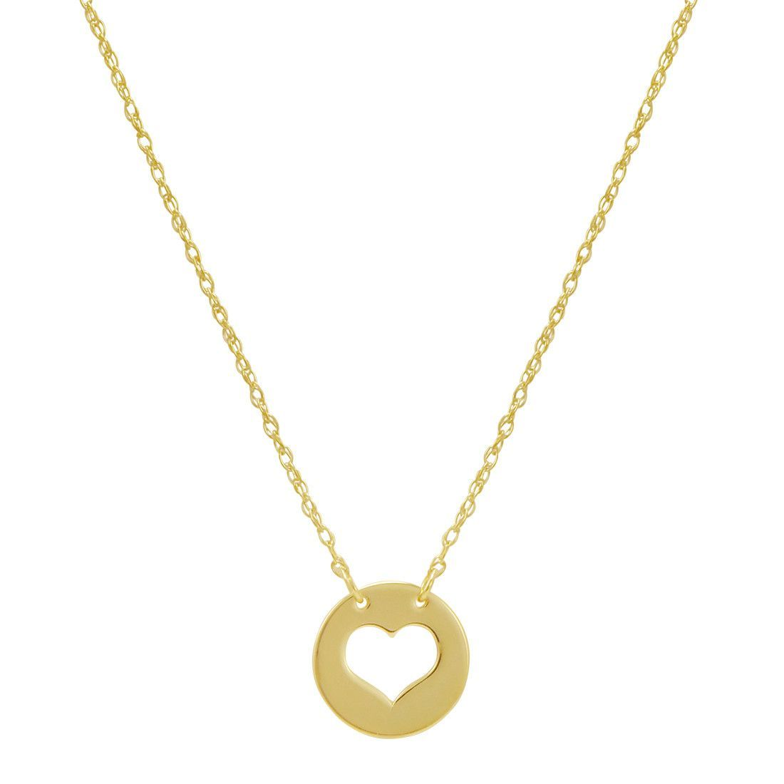 Amanda Rose k Yellow Gold Cut Out Heart Disc Necklace on an