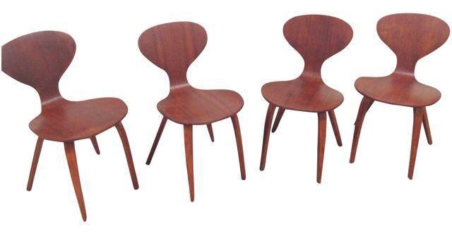 vintage norman cherner plycraft chairs set of 4 on chairishcom
