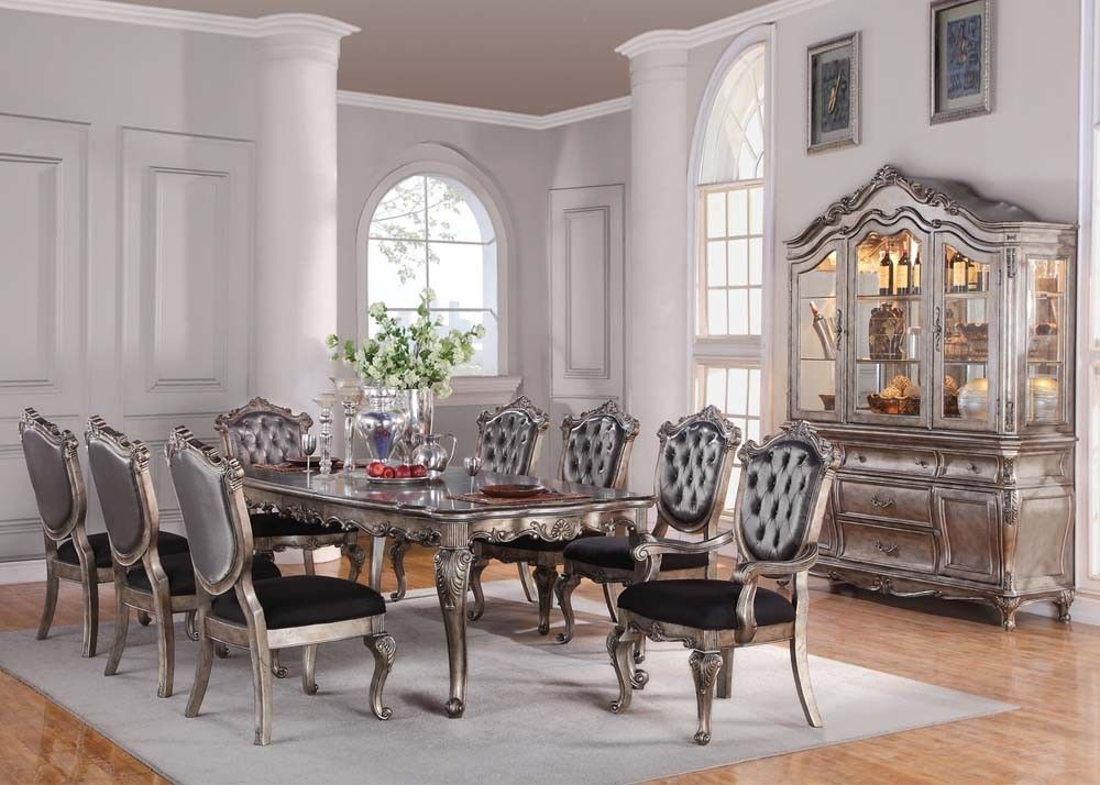 Acme Chantelle 9Pc Dining Room Set In Antique Platinum  All Captivating Acme Dining Room Set Design Inspiration