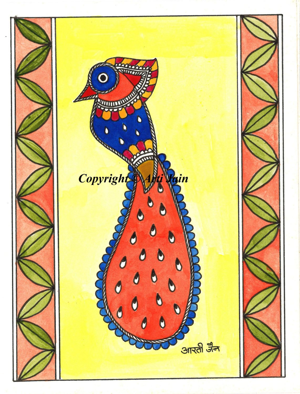 Parrothandmade Madhubani Greeting Cardscards For All Occasions