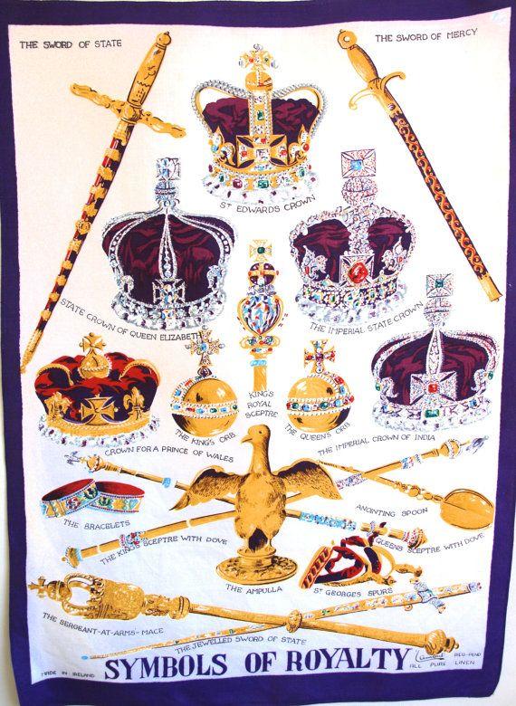 Lamont Symbols Of Royalty Pure Irish Linen Tea Towel 60s Vintage