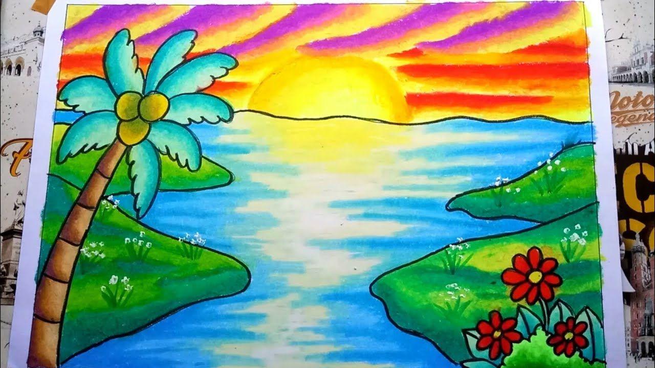 Cara Menggambar Dan Mewarnai Pemandangan Sunset Dan Pantai
