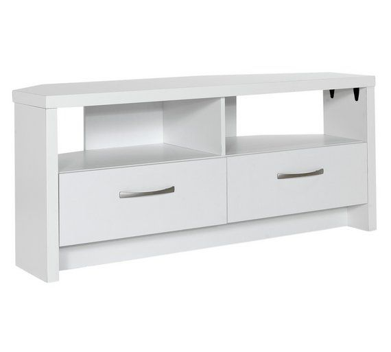 Buy collection venice 2 drawer large corner tv unit white at argos co
