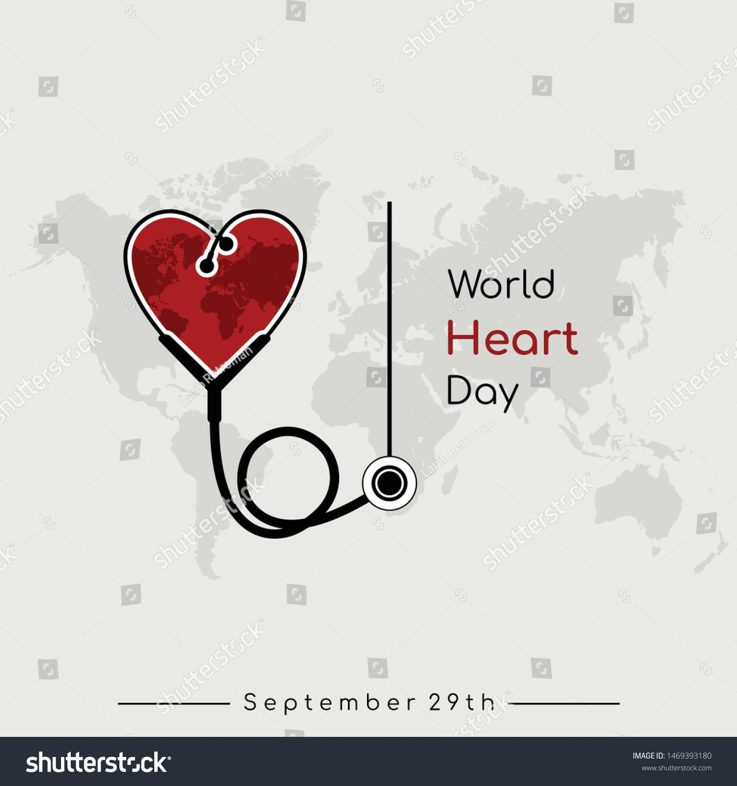 World Heart Day vector design with Heart stethoscope