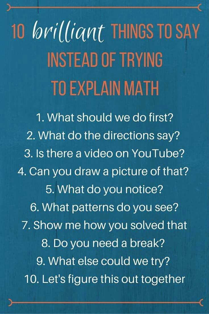 What to say if you can\'t explain maths | kids maths | Pinterest | Maths