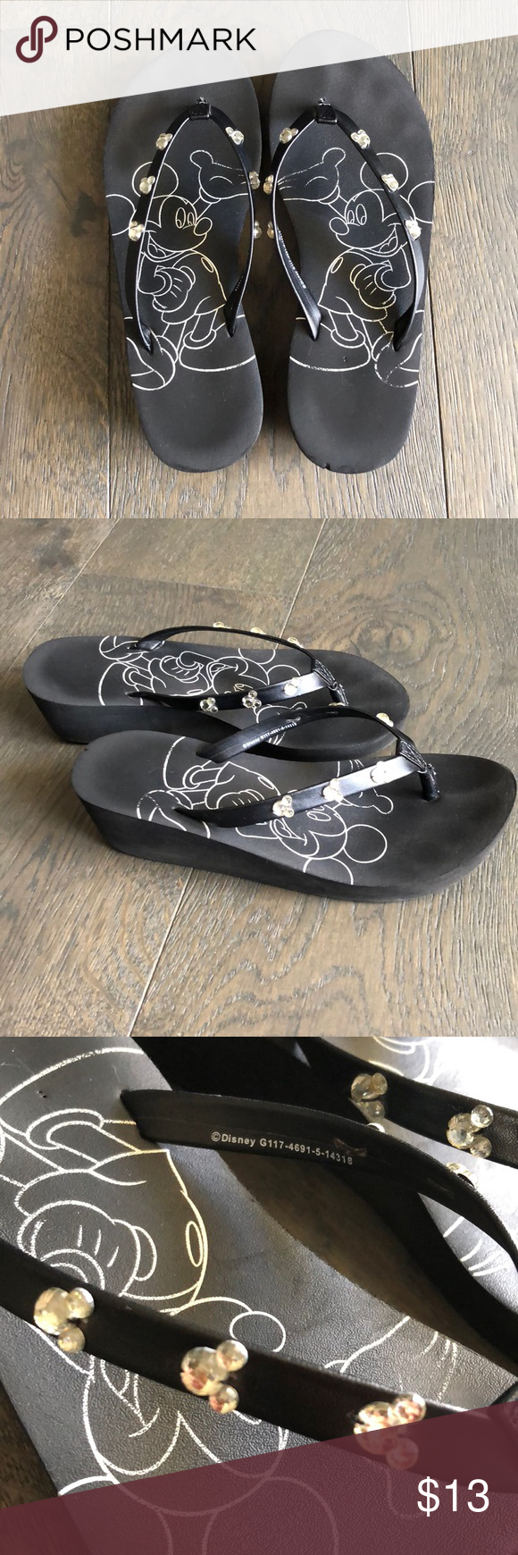 f827904e9 Black with Mickey rhinestones. Used but still have a lot of life! Disney  Shoes Sandals