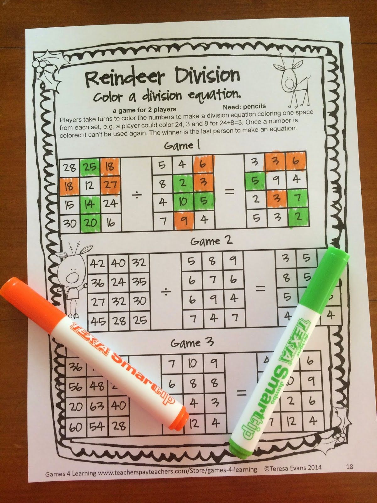 No Prep Christmas Math Games For Fourth Grade With Ts
