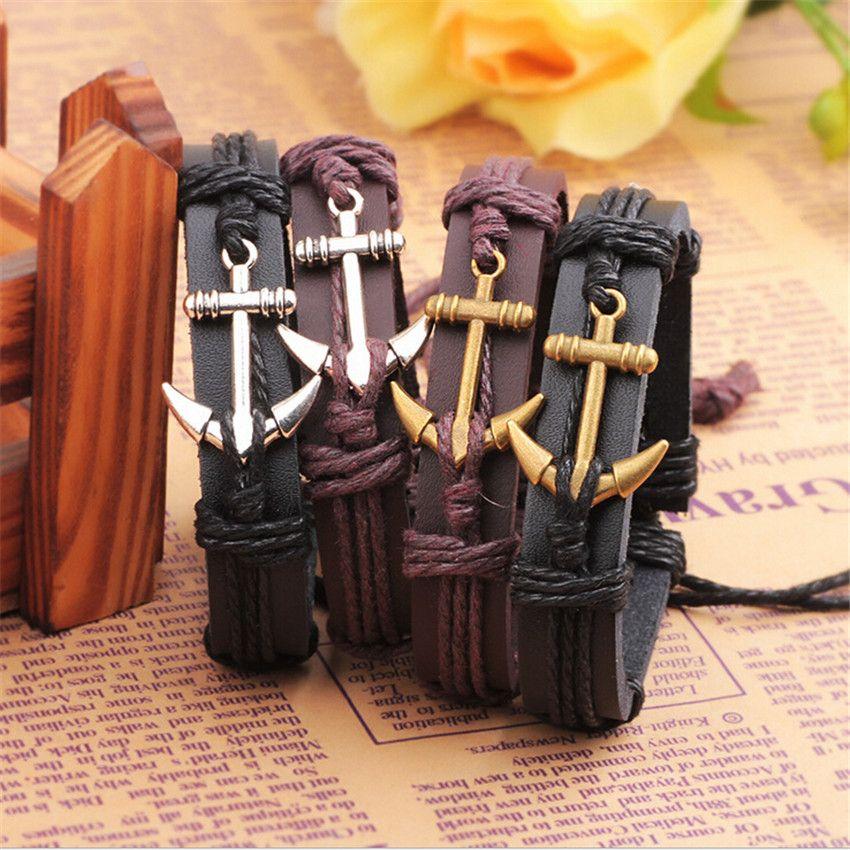 AMOURJOUX Lederen Anker Armband Mannen Vrouwen Ankers Charme Mannelijke Bangle Armband Chain Tailleband Beste vriend gift