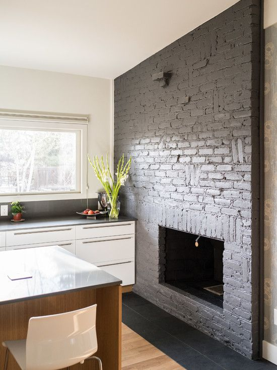 Classic Slate Floors for Interior and Exterior Midcentury Kitchen