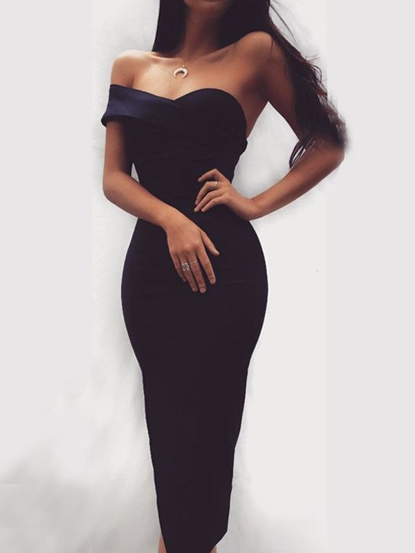 Black Off Shoulder Short Sleeve Backless Cocktail Party Midi Dress #backlesscocktaildress