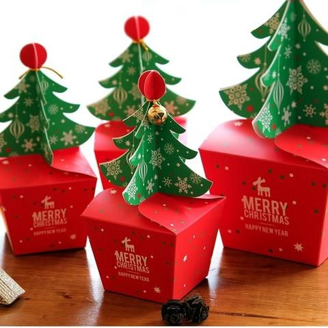 Christmas Tree Design 12pcs Candy Paper Box Cookie Gifts Container Food Packaging Party Use Storag Christmas Gift Box Christmas Paper Christmas Tree With Gifts