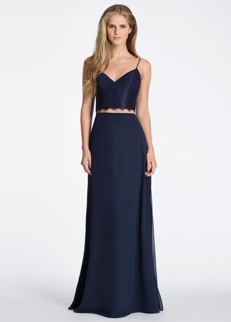 8ca320da38e Navy Hayley Paige Lace and Chiffon Wedding Bridesmaid Dress