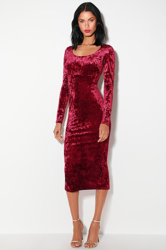 c519323efe481 Cherish Me Wine Red Velvet Long Sleeve Bodycon Midi Dress in 2019 ...