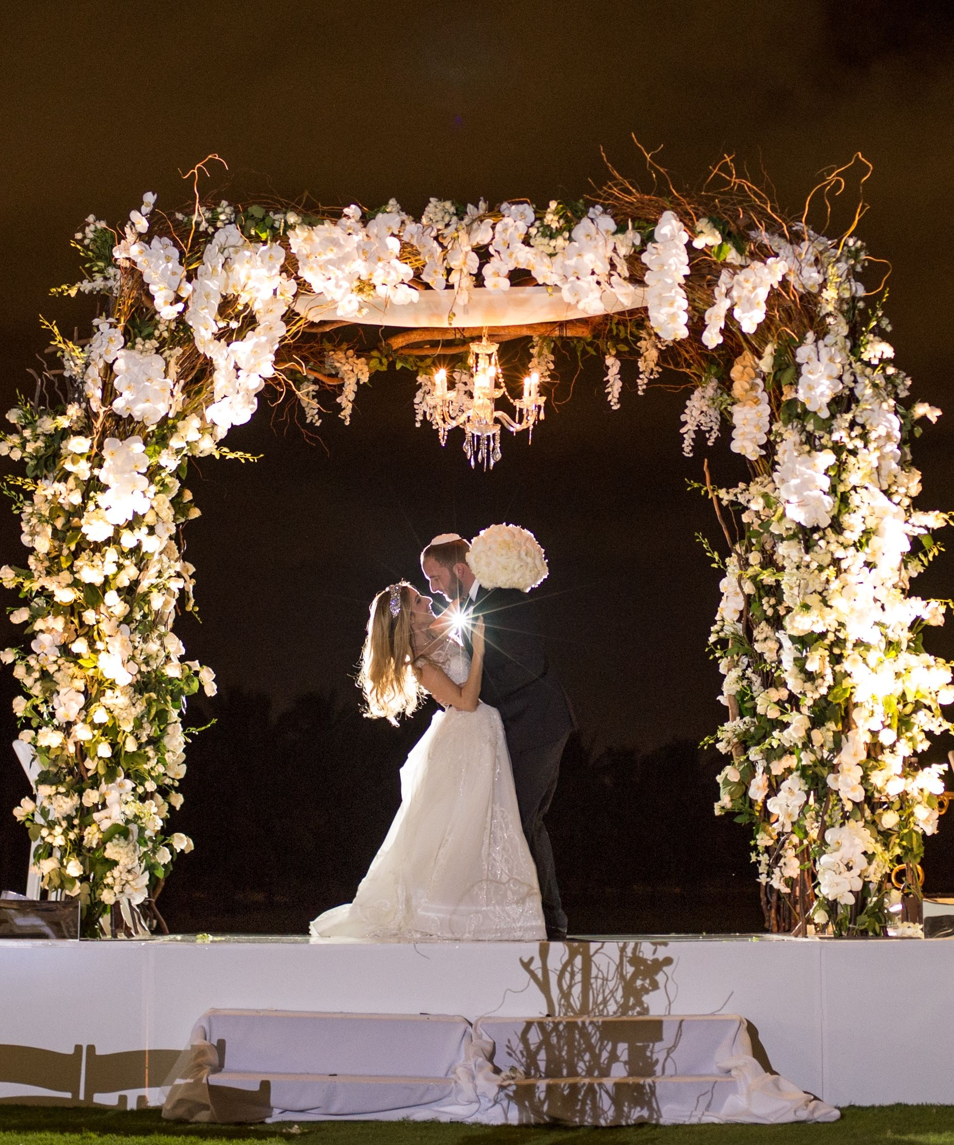Outdoor Wedding Ceremony Locations: Outdoor Evening Wedding Ceremony. White Chuppah With
