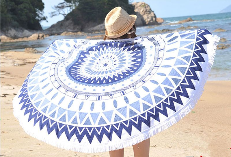 Round Beach Towels Beach Towel round towel bathroom tassel printing Big cotton serviette de plage drap de plage toalha de banho