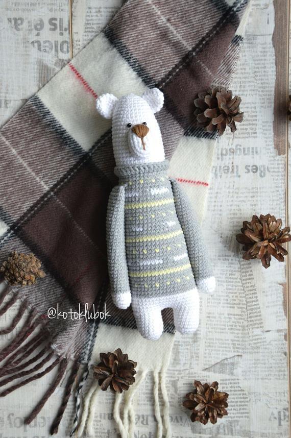 polar bear toy, scandinavian toy for decor, plush teddy bear, crochet plush bear, snow bear, rustic style toy, organic teddy bear, farmhouse #beartoy