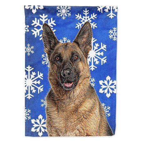 Winter Snowflakes Holiday German Shepherd Flag Canvas House Size