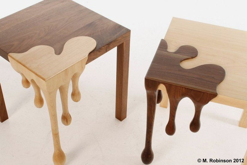 Wooden+Sculptures+for+the+Home | Unique Wooden Table with Droplets Sculpture