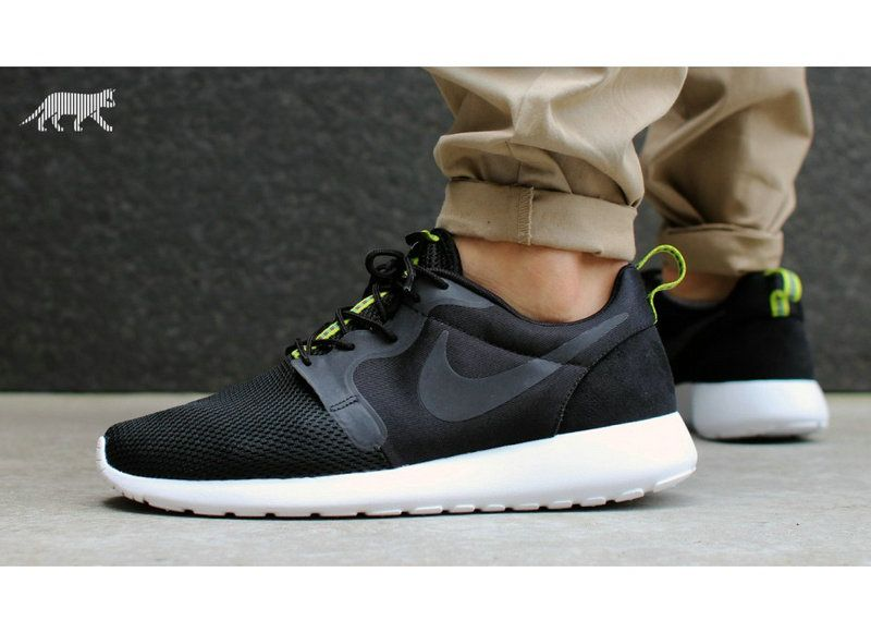 2853b51fd0c39 2018 Discount Nike 636220 003 Roshe Run Hyperfuse Mens Black Anthracite  Venom Green