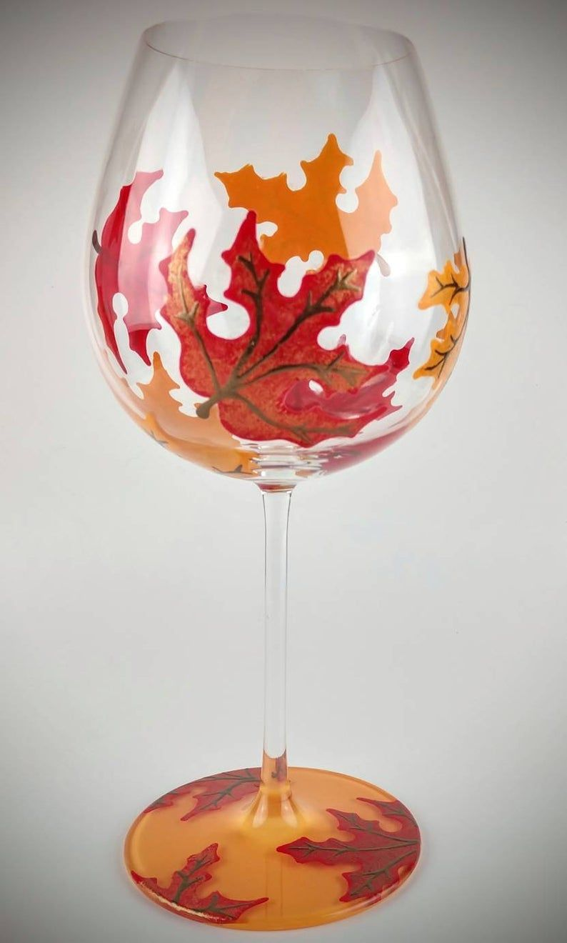 2 Colorful Fall Leaf Stemmed Hand Painted Wine Glasses Maple Leaves In Colors Of Orange Hand Painted Wine Glasses Hand Painted Glassware Hand Painted Glasses