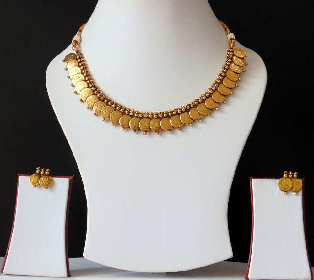 Indian Polki Jewelry Bollywood Royal Lovable Ethnic Necklace Earrings Coin Set F #Indian