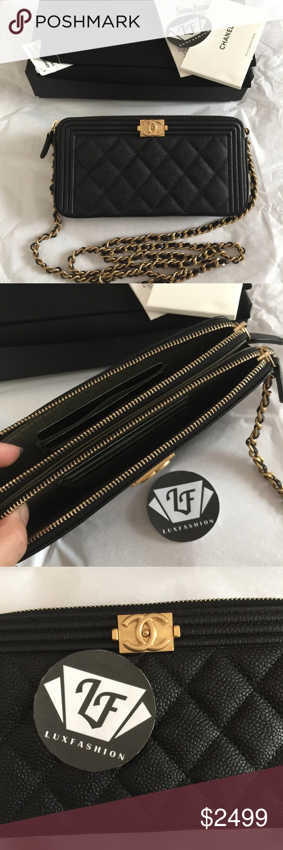 797b3282cbaf Chanel Boy Double Zip Wallet on Chain Black Caviar Brand New Chanel Boy Zip  Wallet on Chain in Black Caviar with Gold Hardware. It has detachable  strap, ...