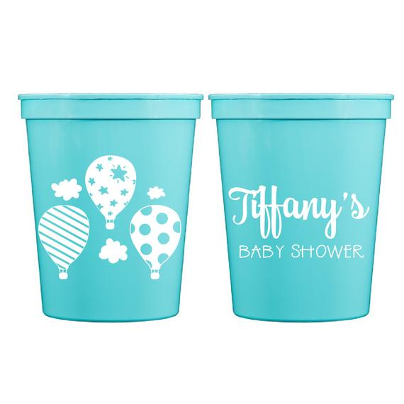 d9ef271a87c Oh the Places Baby Shower Personalized Stadium Plastic Cups - Baby Shower  Stadium Cups - Hot Air Ba