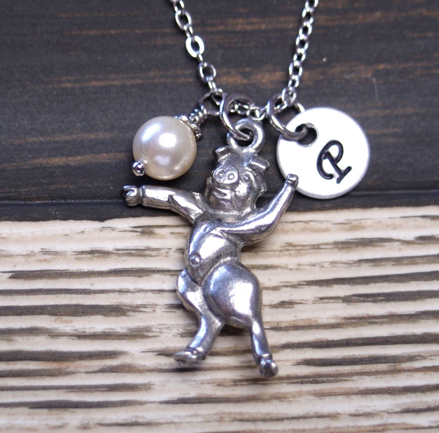 initial necklace, dancing pig necklace, Swarovski cream pearl, silver pig charm, fun necklace, animal charm, gift for her, Valentines Day - http://bit.ly/16bAK0o