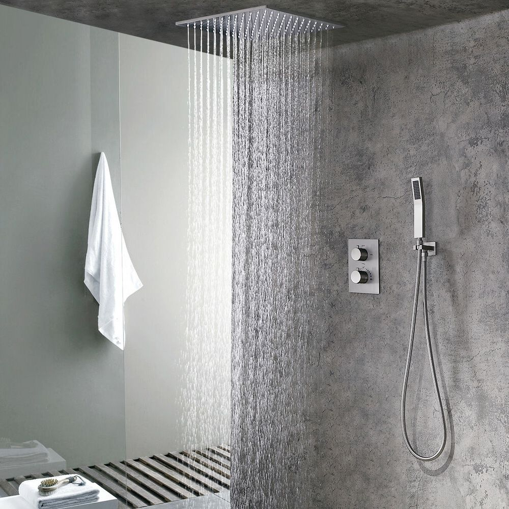 "Modern 16"" Rain Thermostatic Shower Faucet Brushed Nickel Flush Mount Shower System with Hand Shower"