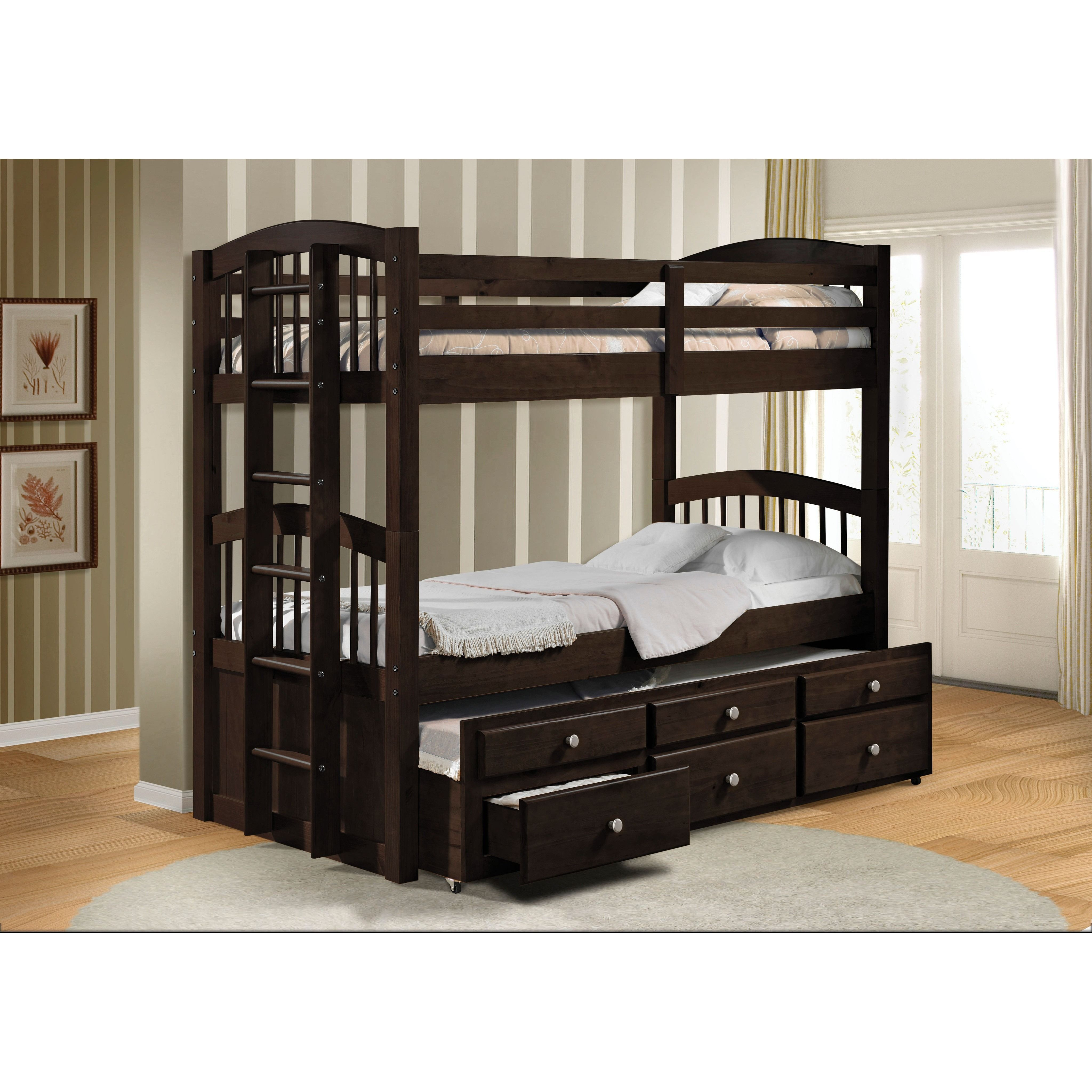 Micah Espresso Twin Over Twin Bunk Bed With Trundle And 3 Drawers Bunk Beds Twin Bunk Beds Bunk Bed With Trundle