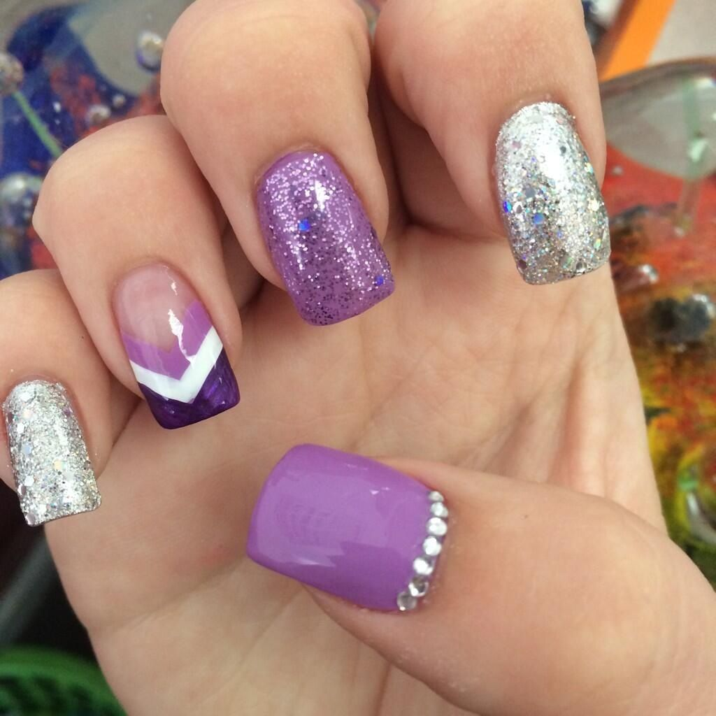 Purple designed nails | Nail ideas | Pinterest