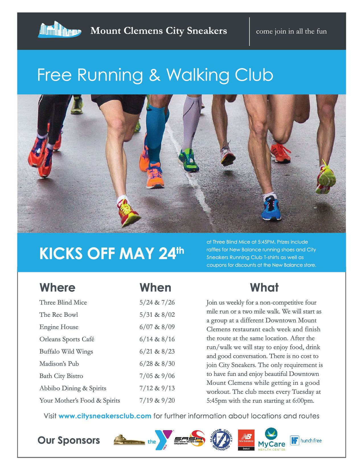 Join the Free Running and Walking Club hosted in downtown