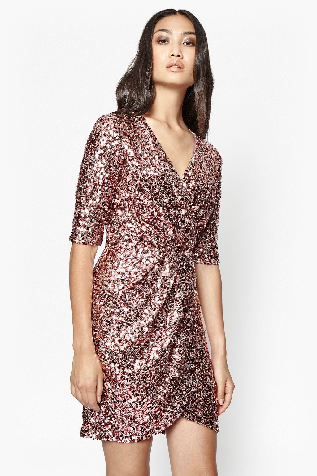 2303664b Lunar Sparkle Sequin Wrap Dress | Collections | French Connection ...