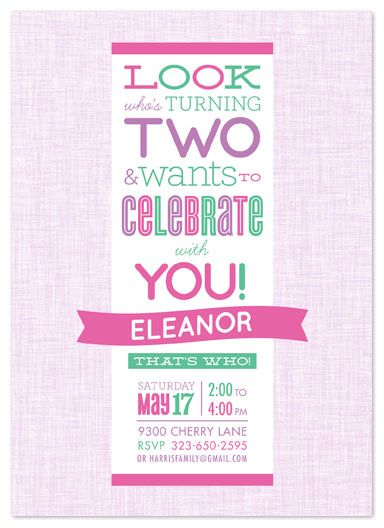 Party Invitations Look Who S Turning Two By Laura Bolter Design