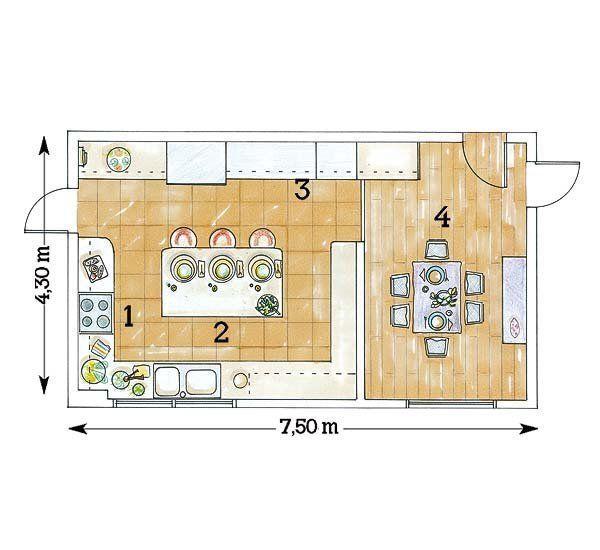 Resultado de imagen para plano cocina isla central for Comedor en planta