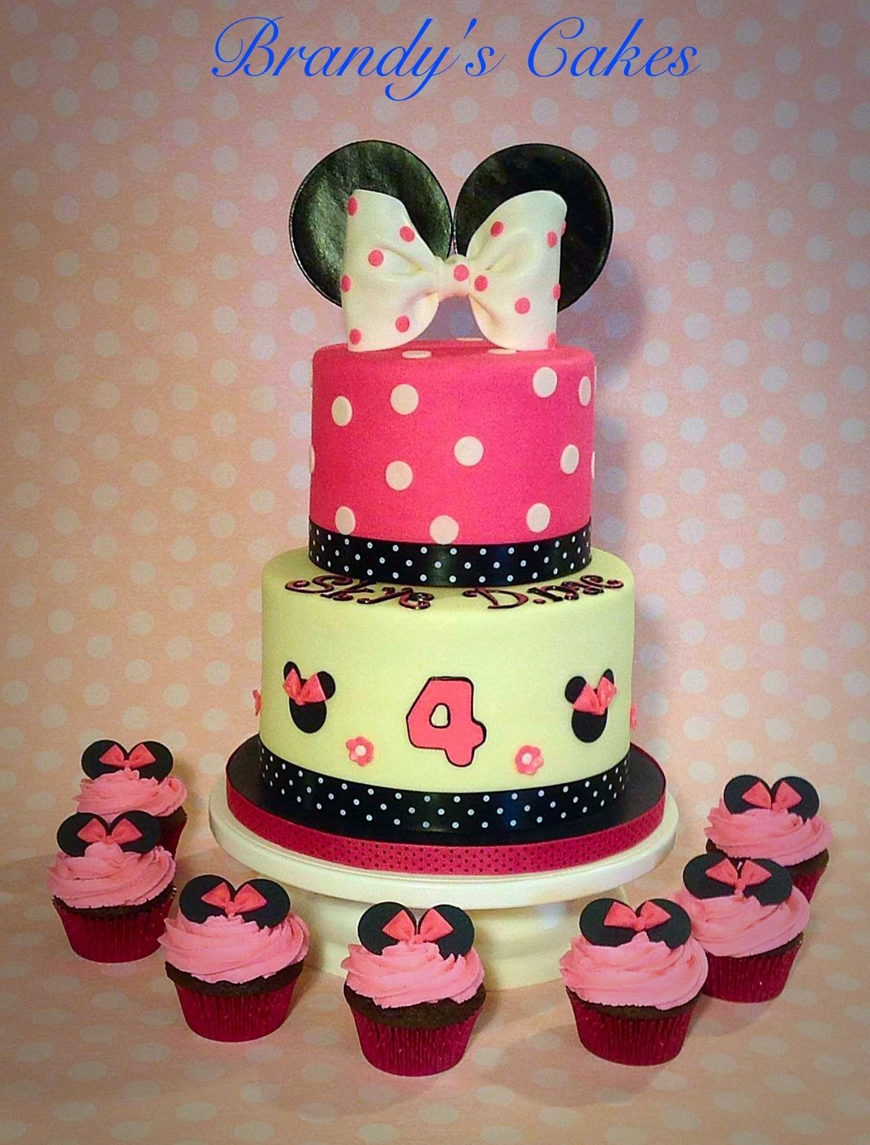 Buttercream Minnie Mouse cake with matching cupcakes.  Made by Brandy's Cakes in Weatherford, TX.